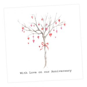 With love on our Anniversary - tree card - Sartorial Boutique and Gifts