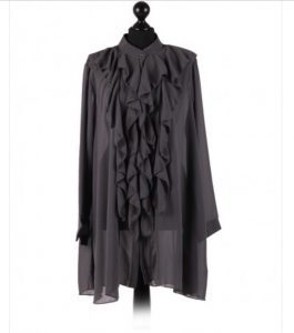 Chiffon Frill detail top - free size Italian style - Charcoal - Sartorial Boutique and Gifts