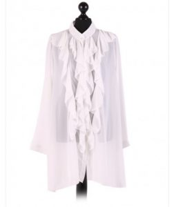 Chiffon Frill detail top - free size Italian style - White - Sartorial Boutique and Gifts