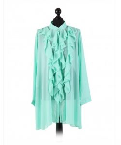 Chiffon Frill detail top - free size Italian style - Aqua - Sartorial Boutique and Gifts