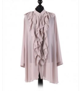 Chiffon Frill detail top - free size Italian style - Light Grey - Sartorial Boutique and Gifts