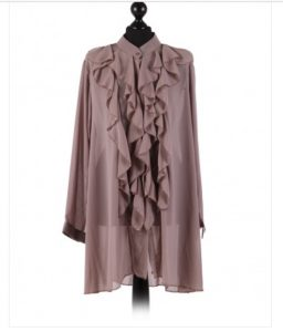 Chiffon Frill detail top - free size Italian style - Mocha - Sartorial Boutique and Gifts
