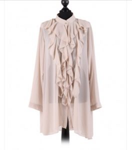 Chiffon Frill detail top - free size Italian style - Beige - Sartorial Boutique and Gifts