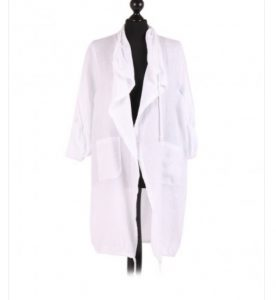 Linen waterfall collar longline jacket - White - Sartorial Boutique and Gifts