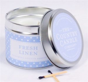 Fresh Linen scented candle in a tin - Sartorial Boutique and Gifts