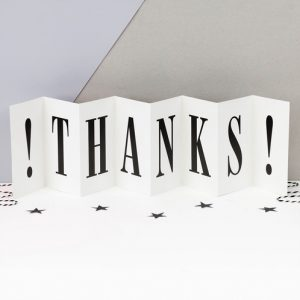 Thanks - Concertina card - Coulson Macleod card- Sartorial Boutique and Gifts