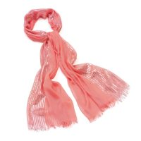 Peach scarf with silver shimmer stripe detail - Sartorial Boutique and Gifts