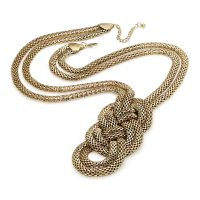 Gold coloured long knot necklace - Sartorial Boutique and Gifts