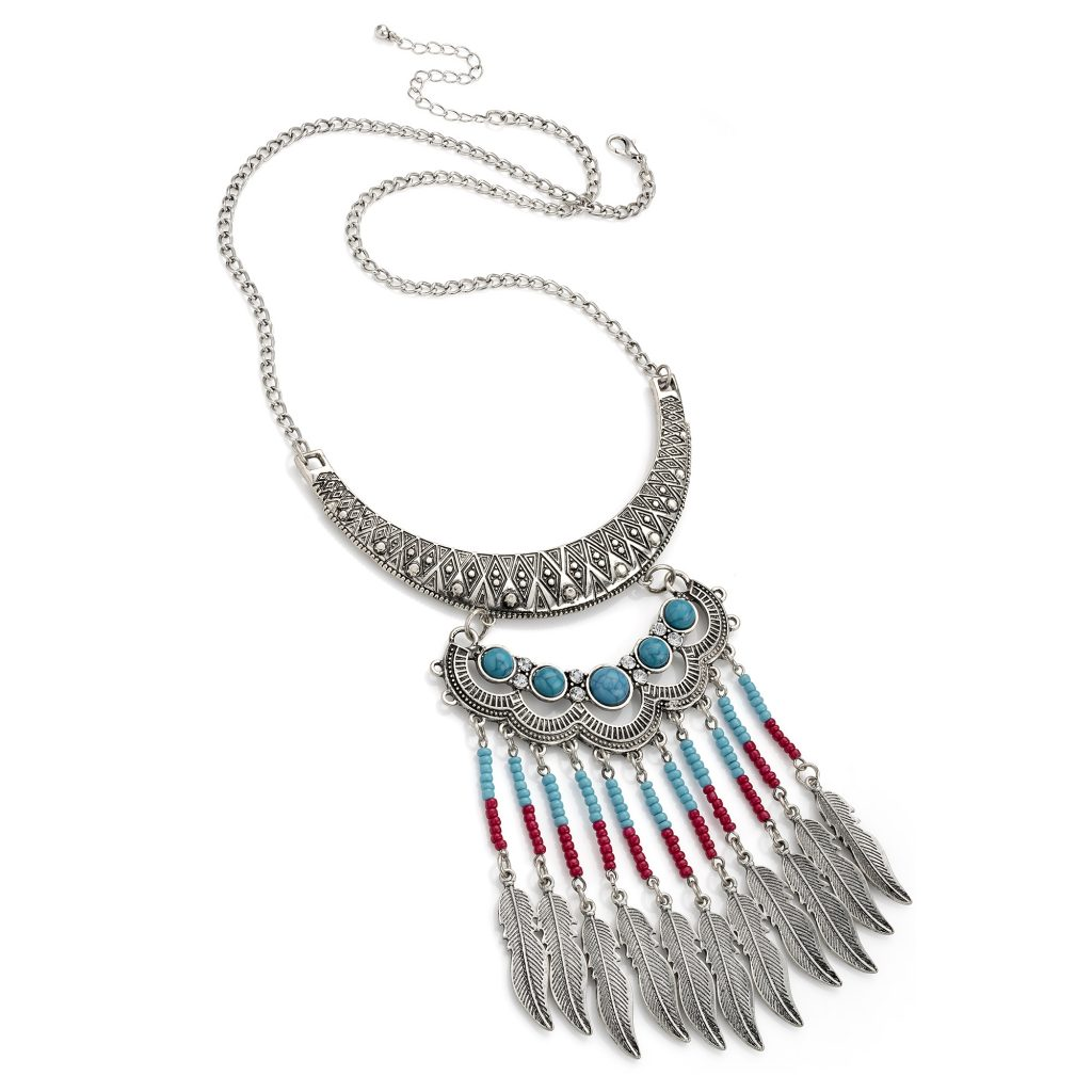 Silver coloured tribal design necklace with red and turquoise beads and feathers - Sartorial Boutique and Gifts