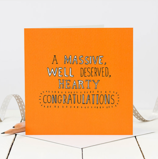A massive well deserved hearty congratulations - Coulson Macleod card - Sartorial Boutique and Gifts