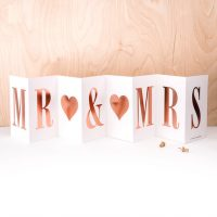 Mr & Mrs - Concertina card with Rose Gold foil writing - Coulson Macleod card- Sartorial Boutique and Gifts