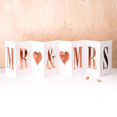 Mr & Mrs - Concertina card with Rose Gold foil writing - Coulson Macleod card - Sartorial Boutique and Gifts