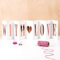 With Love - Concertina card with Rose Gold foil writing - Coulson Macleod - Sartorial Boutique and Gifts