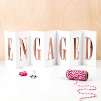 Engaged - Concertina card with Rose Gold foil writing - Coulson Macleod - Sartorial Boutique and Gifts