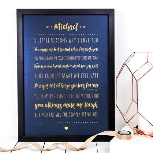 Coulson Macleod A3 bespoke prints - 8 little reasons why I love you - Sartorial Boutique and Gifts