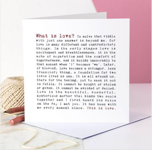 What is love - Coulson Macleod card - Sartorial Boutique and Gifts