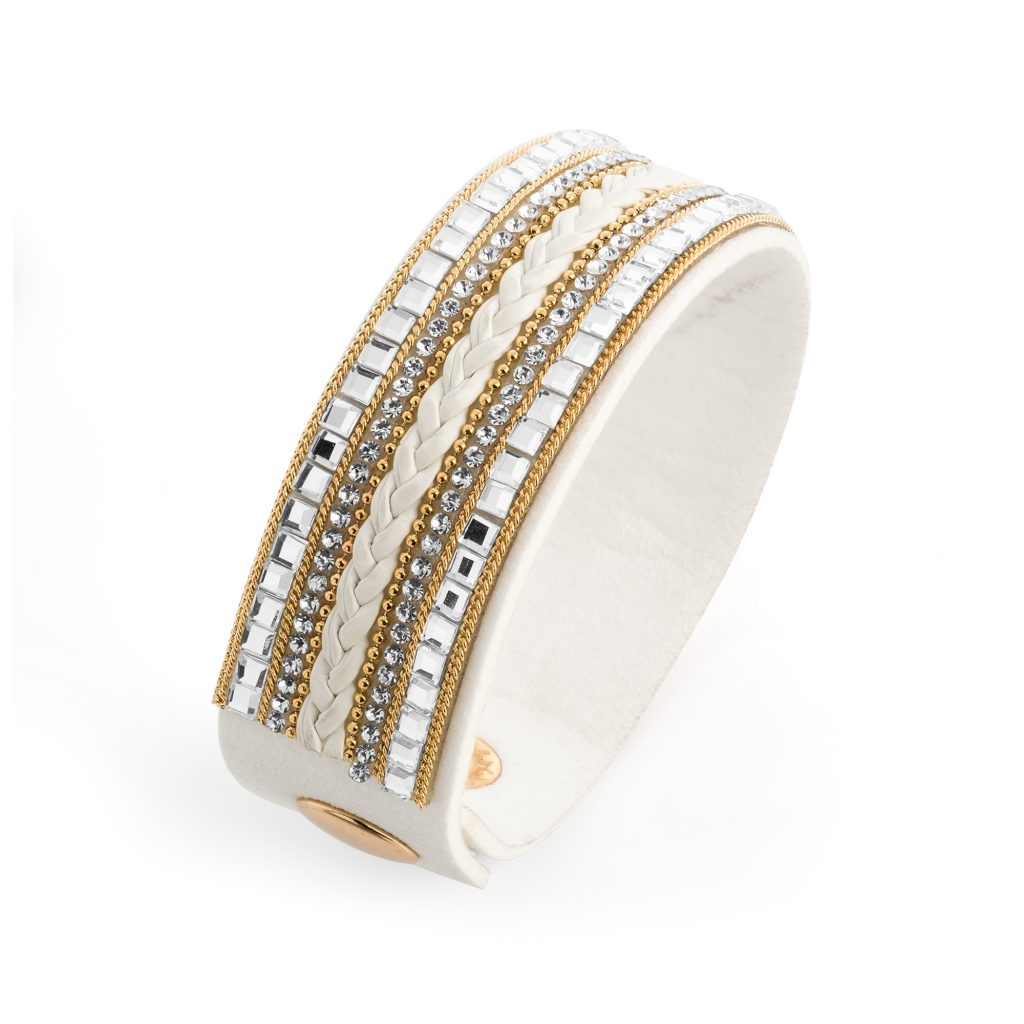 White cuff bracelet with bead detail - Sartorial Boutique and Gifts