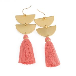 Gold coloured earrings with peach tassel detail - Sartorial Boutique and Gifts