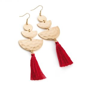 Gold coloured earrings with red tassel detail - Sartorial Boutique and Gifts