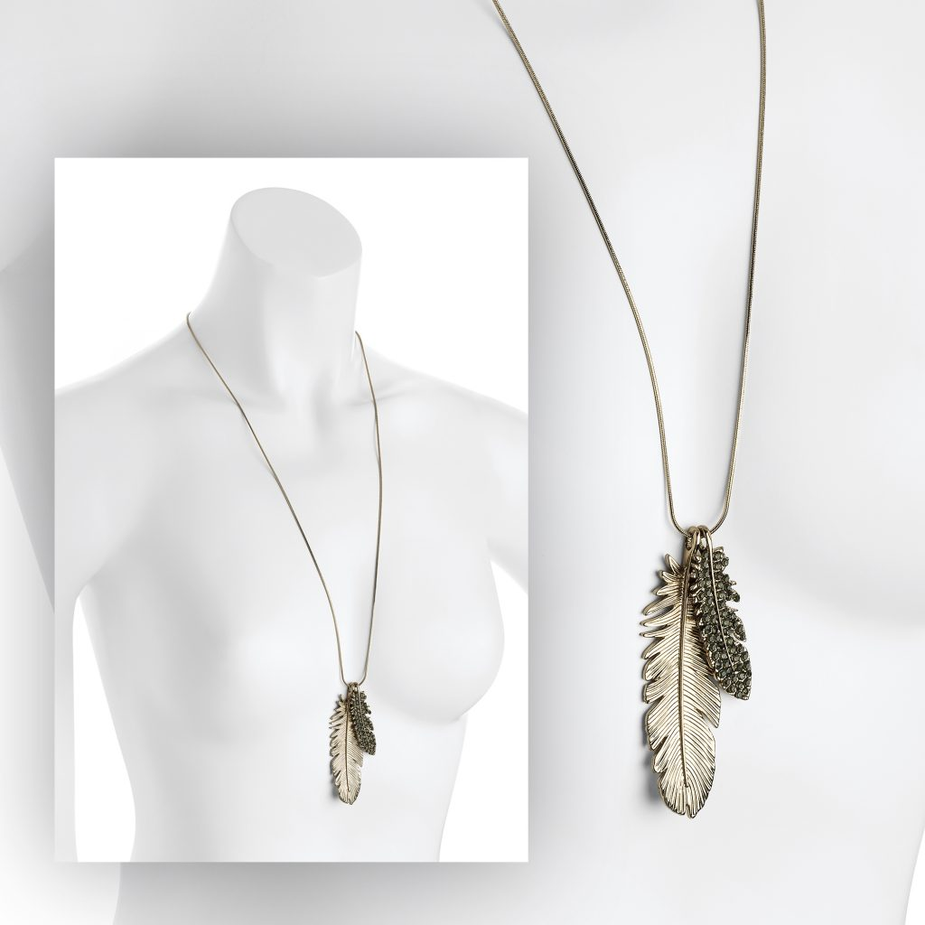 Long gold coloured feather necklace with black crystals - Sartorial Boutique and Gifts