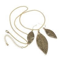 Gold coloured leaf design necklace and earring set - Sartorial Boutique and Gifts