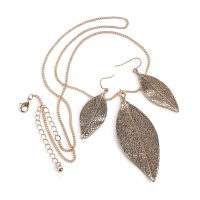 Rose Gold coloured leaf design necklace and earring set - Sartorial Boutique and Gifts