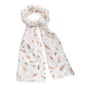 white scarf with rose gold foil leaf detail - Sartorial Boutique and Gifts