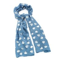 Blue scarf with silver foil heart detail - Sartorial Boutique and Gifts