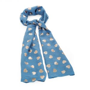 Blue scarf with rose gold foil heart detail - Sartorial Boutique and Gifts