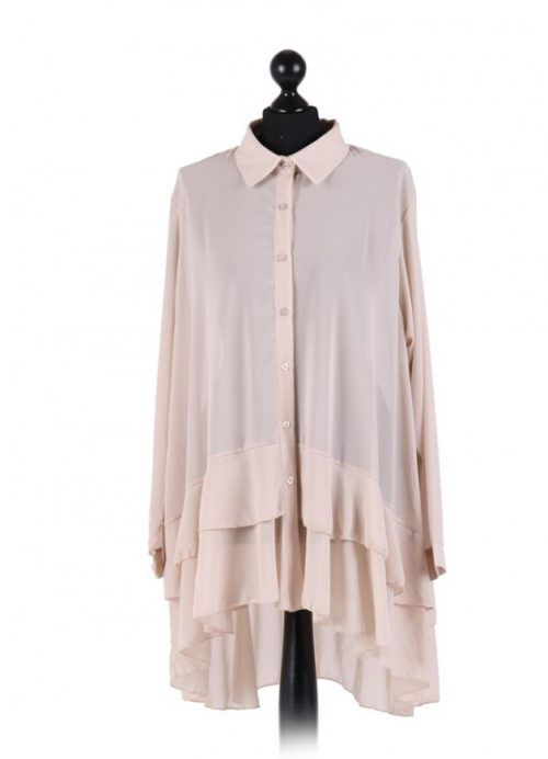Chiffon Frilled high low hem top - free size Italian style - Beige - Sartorial Boutique and Gifts