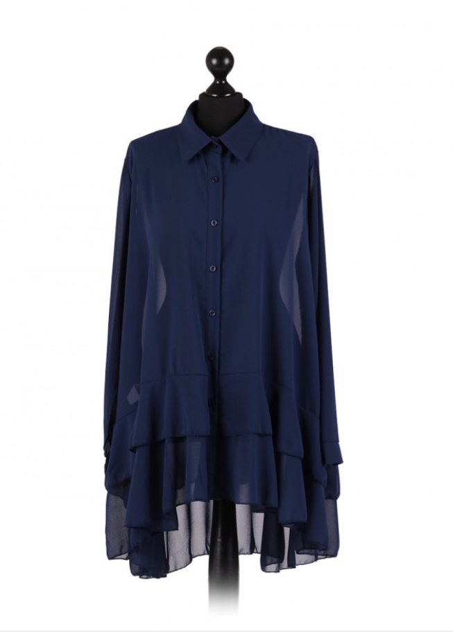 Chiffon Frilled high low hem top - free size Italian style - Navy - Sartorial Boutique and Gifts