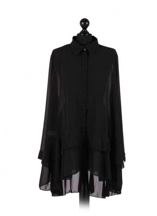 Chiffon Frilled high low hem top - free size Italian style - Black - Sartorial Boutique and Gifts