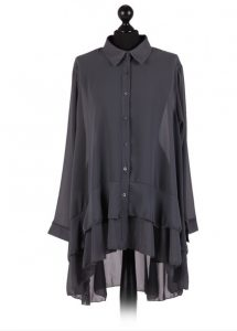 Chiffon Frilled high low hem top - free size Italian style - Charcoal - Sartorial Boutique and Gifts