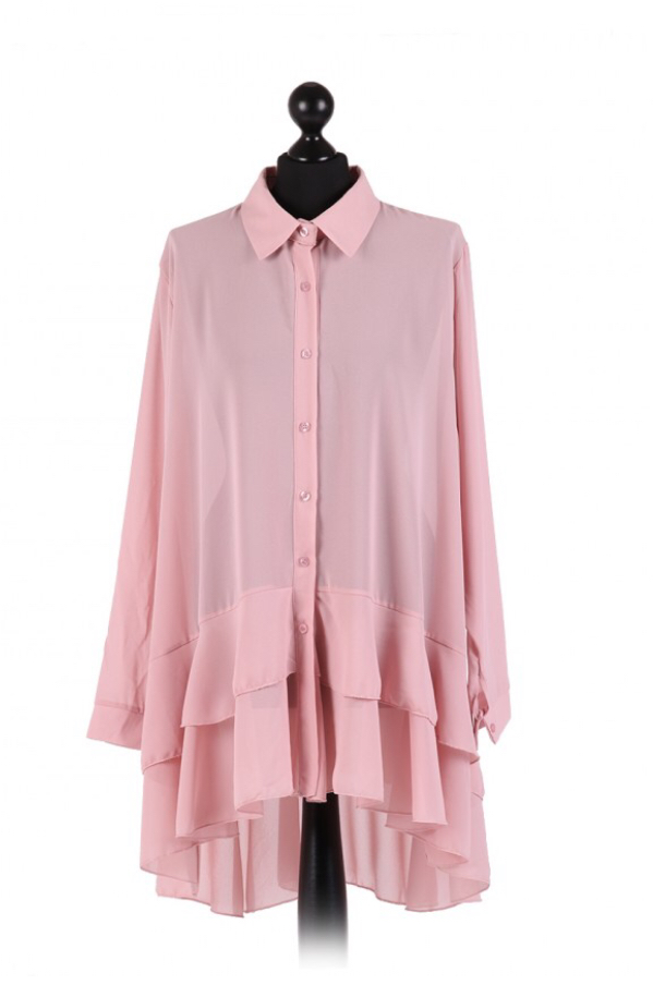 Chiffon Frilled high low hem top - free size Italian style - Nude pink - Sartorial Boutique and Gifts