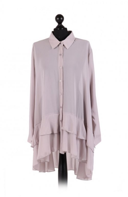 Chiffon Frilled high low hem top - free size Italian style - Light Grey - Sartorial Boutique and Gifts