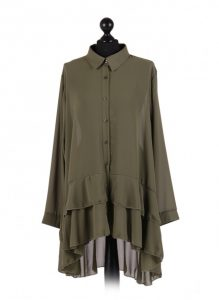 Chiffon Frilled high low hem top - free size Italian style - Khaki - Sartorial Boutique and Gifts