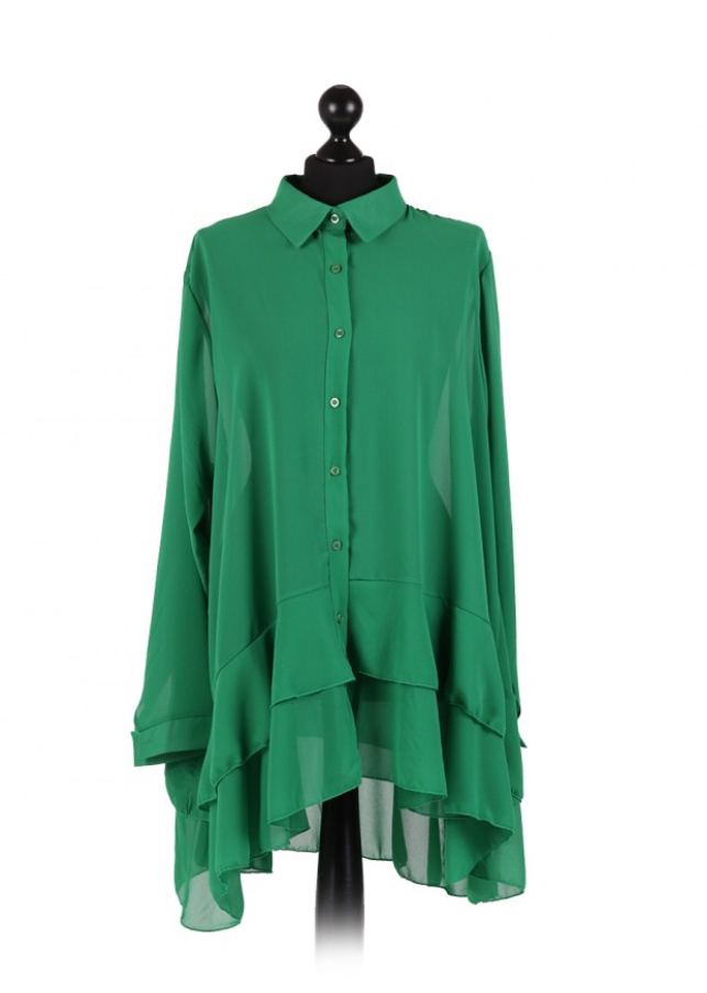 Chiffon Frilled high low hem top - free size Italian style - Bottle Green - Sartorial Boutique and Gifts