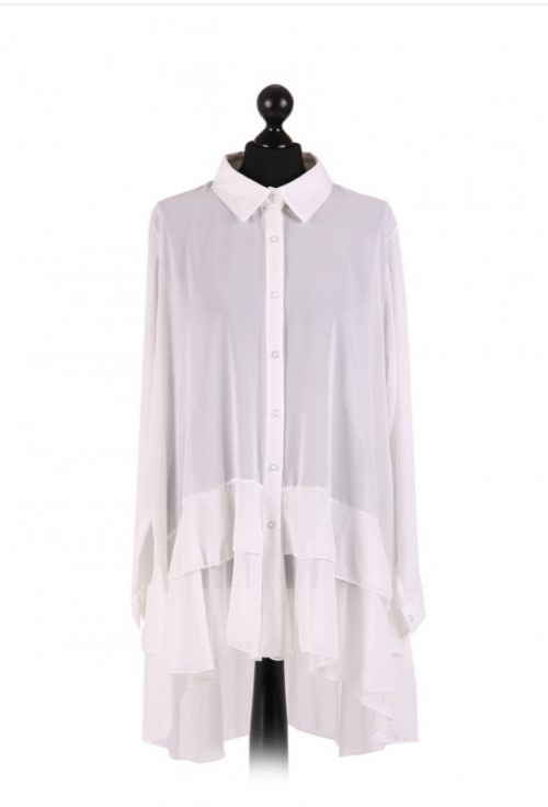 Chiffon Frilled high low hem top - free size Italian style - White - Sartorial Boutique and Gifts