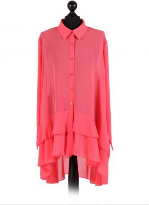 Chiffon Frilled high low hem top - free size Italian style - Coral - Sartorial Boutique and Gifts