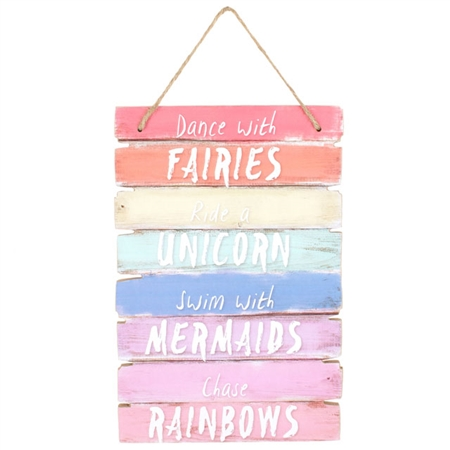 Unicorns rainbows wooden plaque - Sartorial Boutique and Gifts