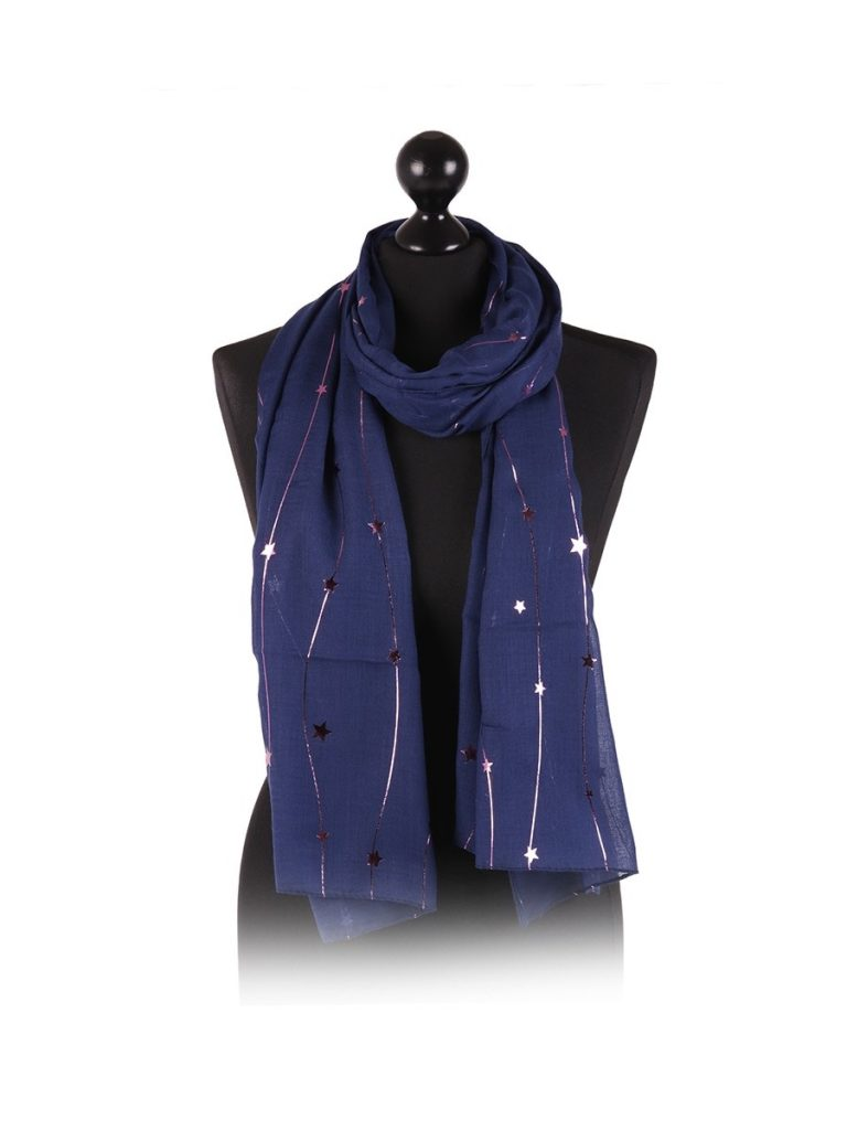 foil star string print scarf navy - Sartorial Boutique and Gifts