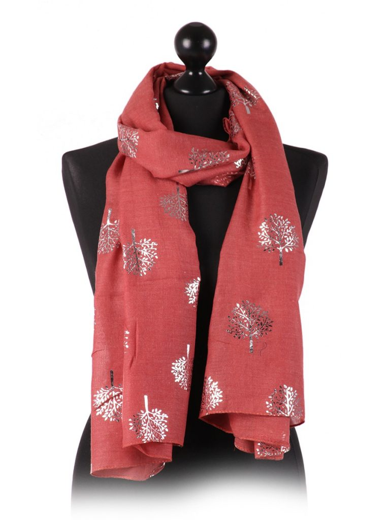 tree print scarf -wine - Sartorial Boutique and Gifts