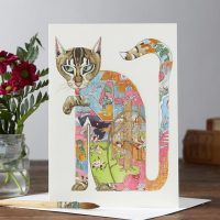 Daniel Mackie collection cat licking paw card - sartorial boutique and gifts