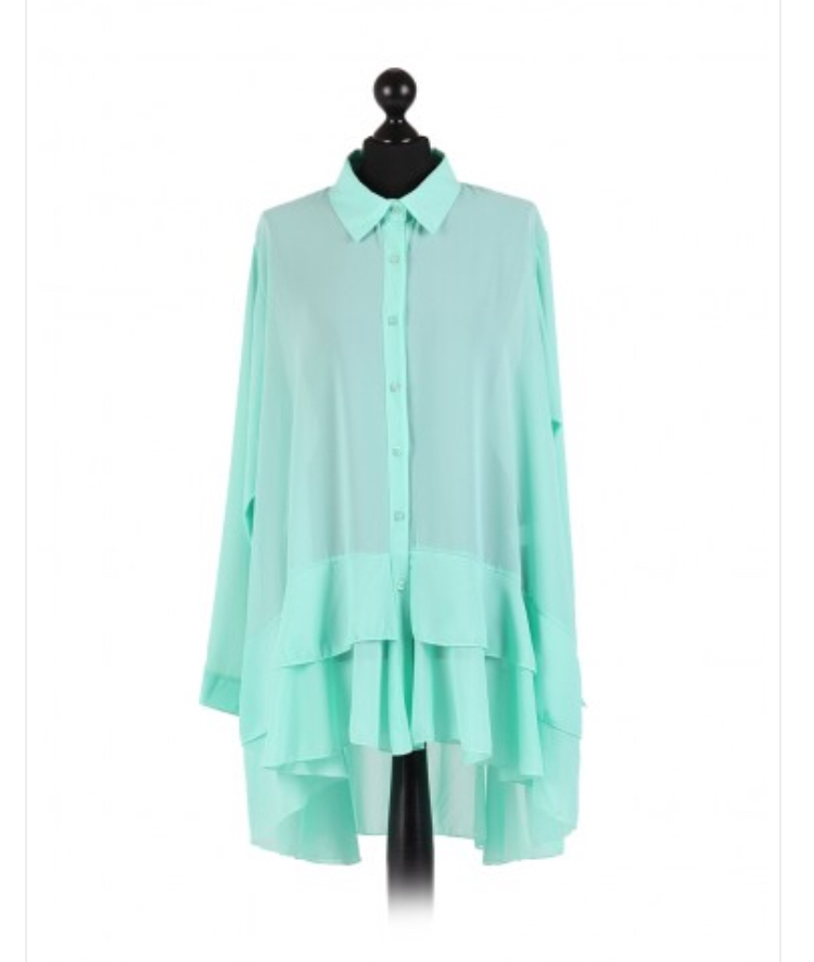 Chiffon Frilled high low hem top - free size Italian style - Aqua - Sartorial Boutique and Gifts