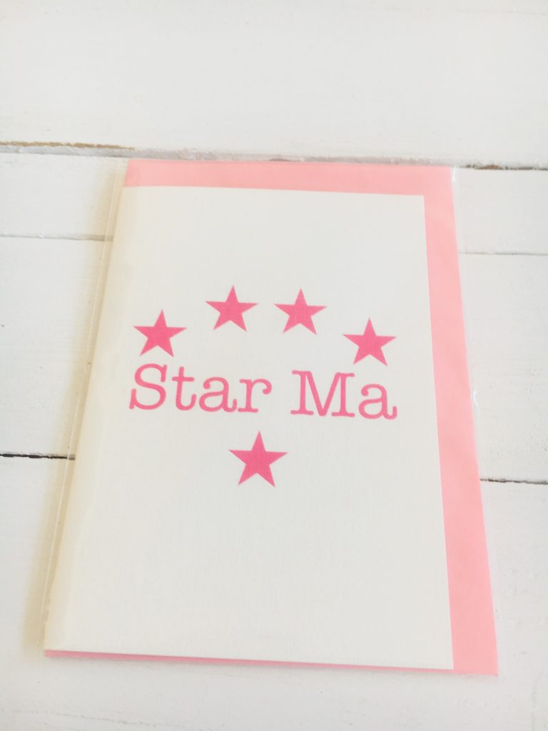 Star Ma card - pink stars - Sartorial Boutique and Gifts