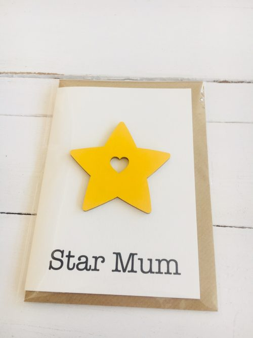 Star Mum card - yellow wooden star with heart - Sartorial Boutique and Gifts