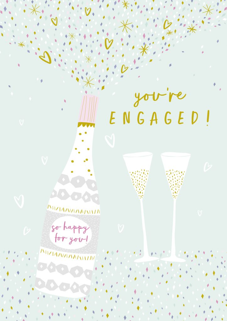 Jessica Hogarth - you're engaged champagne card - sartorial boutique and gifts
