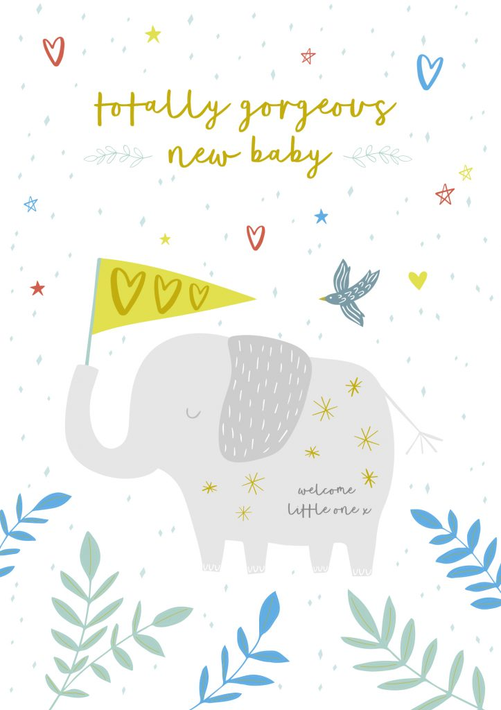 Jessica Hogarth - cute elephant - new baby unisex card - sartorial boutique and gifts