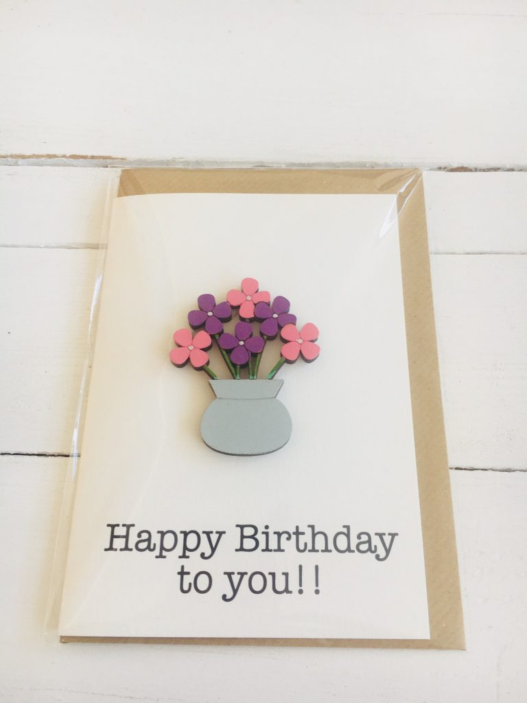 Wooden flowers in a vase happy birthday card - Sartorial Boutique and Gifts