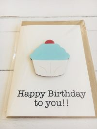 Wooden cupcake happy birthday card - blue - Sartorial Boutique and Gifts